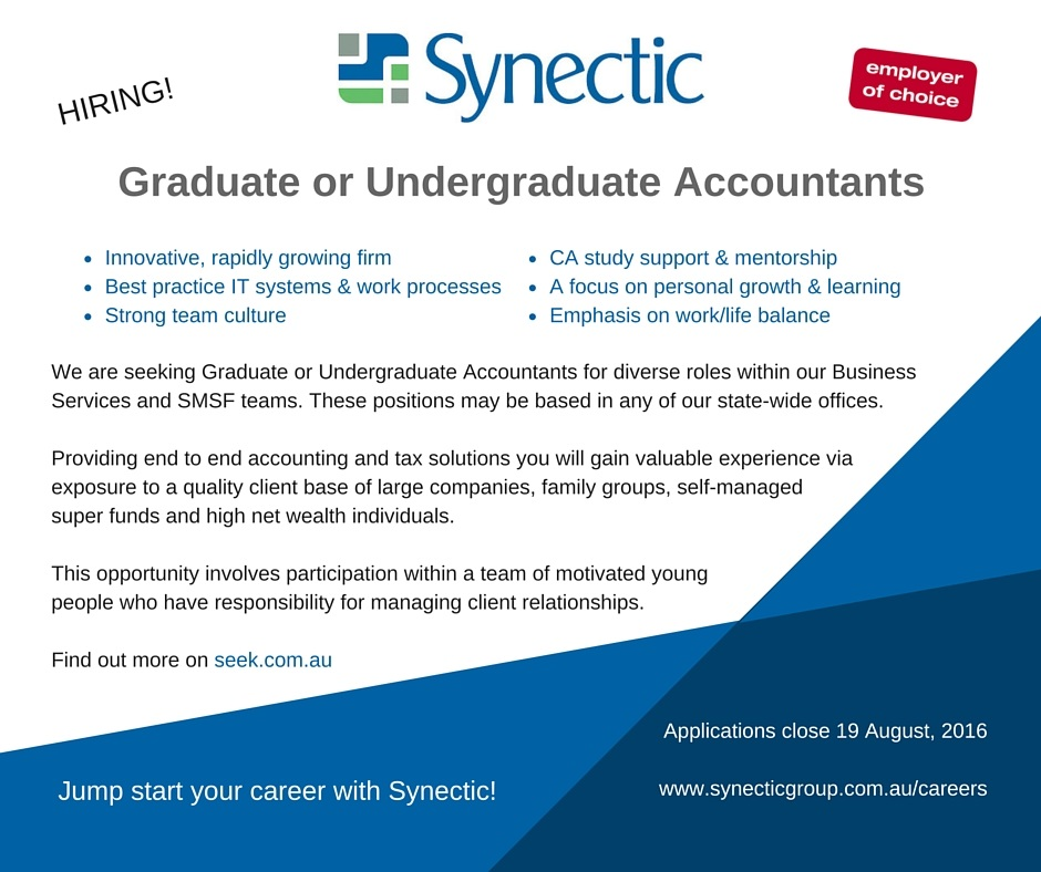 Graduate or Undergraduate Accountants positions vacant