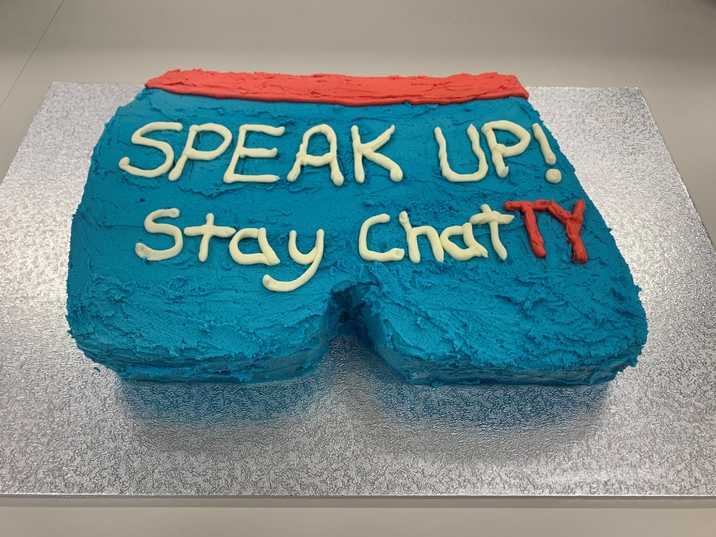 Cake baked by Synectic staff for SPEAK UP! Stay ChatTY